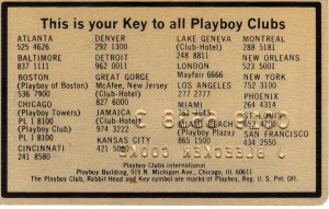 Back of Playboy Club Key Card
